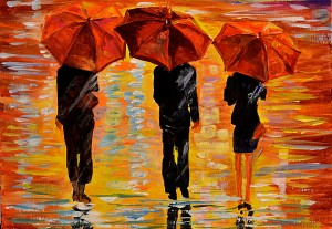 """""""In the rain"""". Online acrylic painting lesson"""