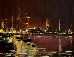 Night scene - free oil paint lessons