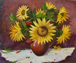 How to draw still life with sunflowers
