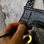 Fine art lesson, how to draw the Eiffel Tower
