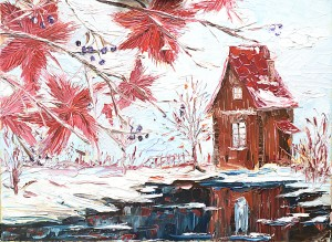 How to paint winter landscape with oil paint, free art lesson