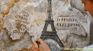 Fine art lesson, how to draw with acrylic paint