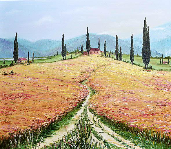 art lesson, landscape, fild, paint