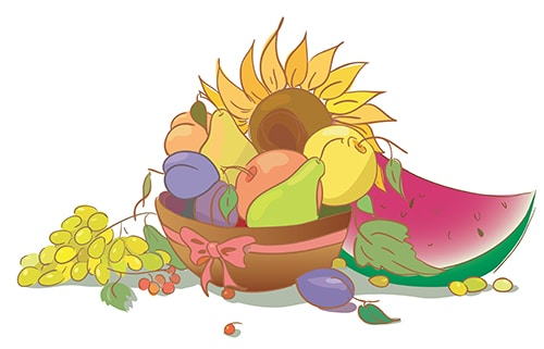 Fruit and sunflower. Harvest of apple pear peach grapes watermel