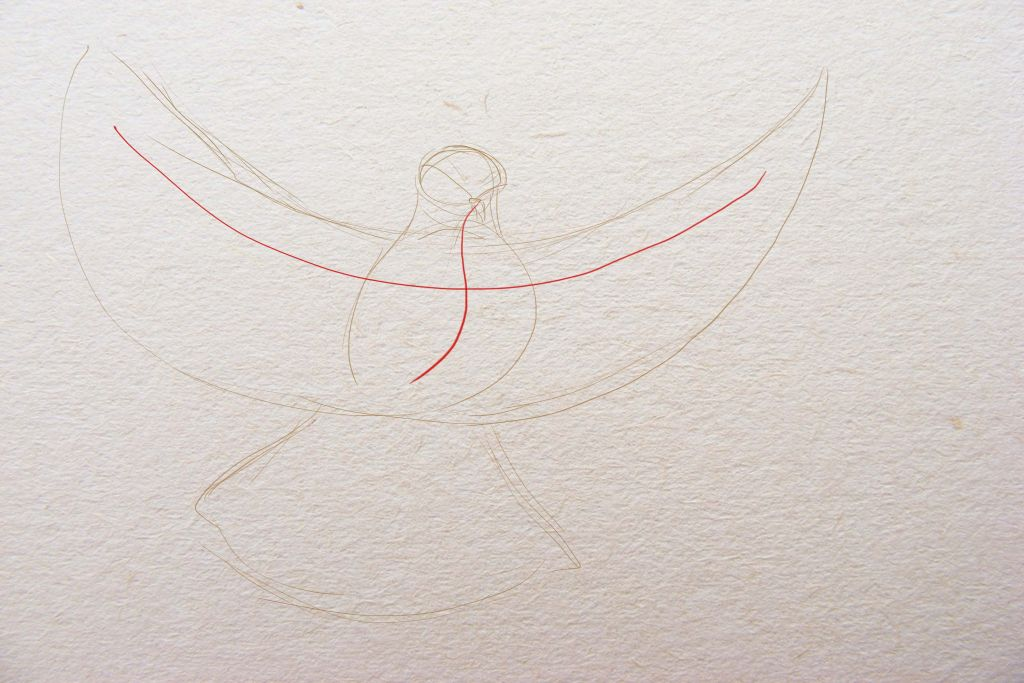 how to draw a bird, to paint a dove