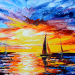 Unusual oil painting techniques, painting the sunset «Sunset over the sea»